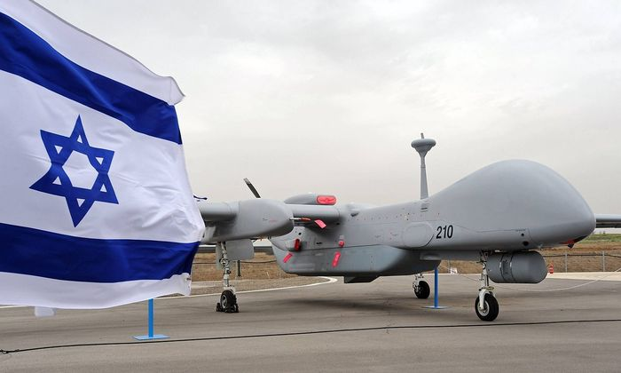 An Israeli made unmanned aerial vehicle the Heron TP is displayed at it s induction ceremony into