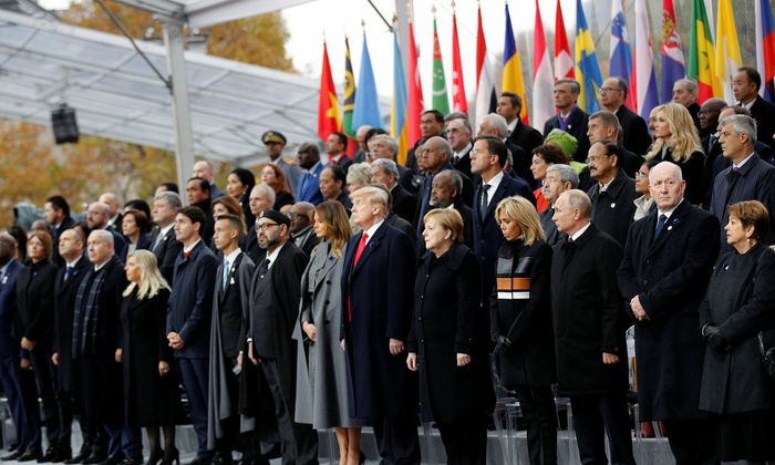 Heads of states and world leaders attend a commemoration ceremony for Armistice Day, 100 years after the end of the First World War at the Arc de Triomphe, in Paris