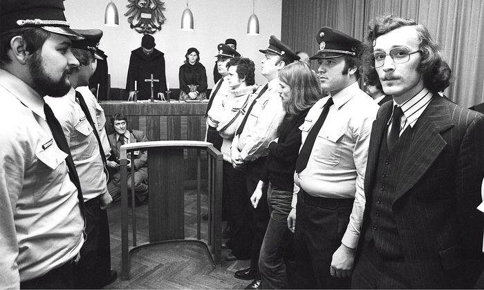 Den Palmers-Entführern Reinhard Pitsch, Othmar Keplinger und Thomas Gratt (von rechts) wurde dann 1979 in Wien der Prozess gemacht.
