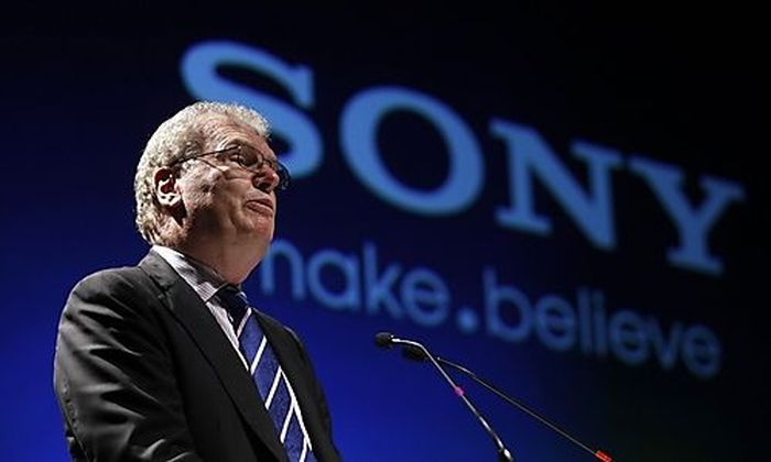 File photo of Howard Stringer, CEO and president of Sony Corporation, speaking at the Sony Media Tech