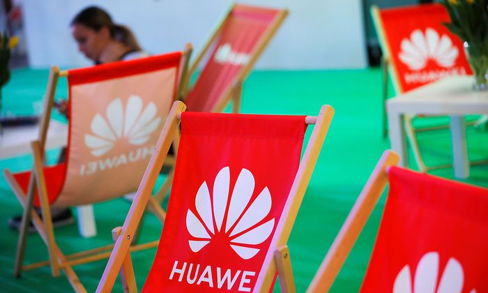 The Huawei logo is pictured on the company's stand during the 'Electronics Show - International Trade Fair for Consumer Electronics' at Ptak Warsaw Expo in Nadarzyn