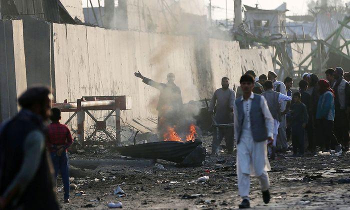 """Proteste vor dem """"Green Village"""" in Kabul."""