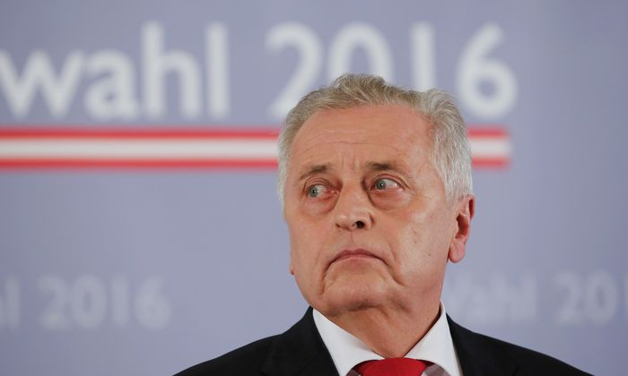 Austrian Social Democratic Party (SPOe) presidential candidate Hundstorfer addresses a news conference in Vienna