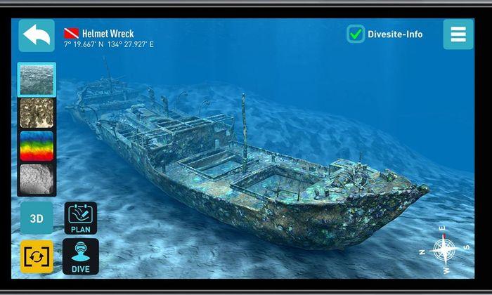 Ein Schiffswrack unter Wasser: Mit einer App kann man in den virtuellen Ozean eintauchen.