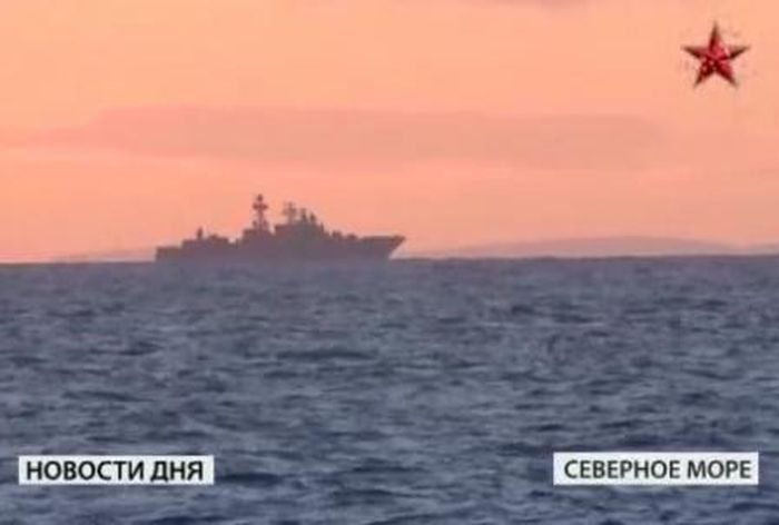 Russisches Kriegsschiff vor Schottland (Videoausschnitt)