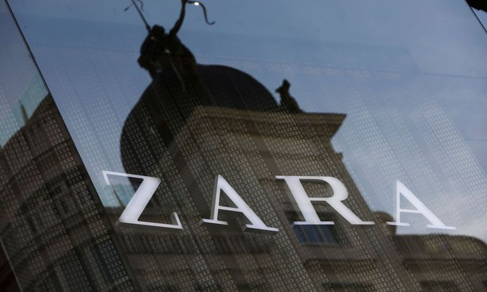FILE PHOTO: The logo of a Zara store, an Inditex brand, is seen in central Madrid