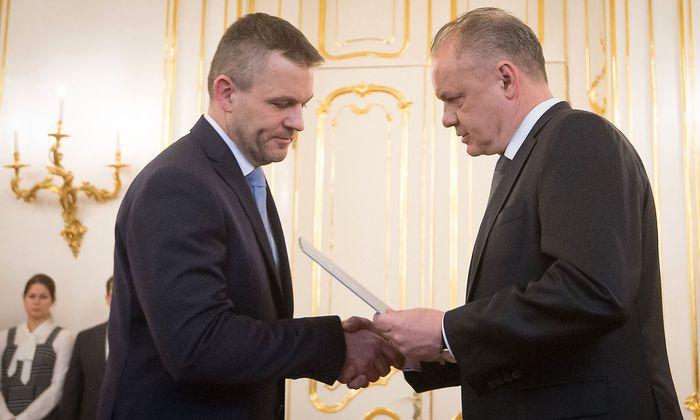 Archivbild. Präsident Kiska und designierter Ministerpräsident Pellegrini werden sich doch noch einigermaßen einig über die neue slowakische Regierung.