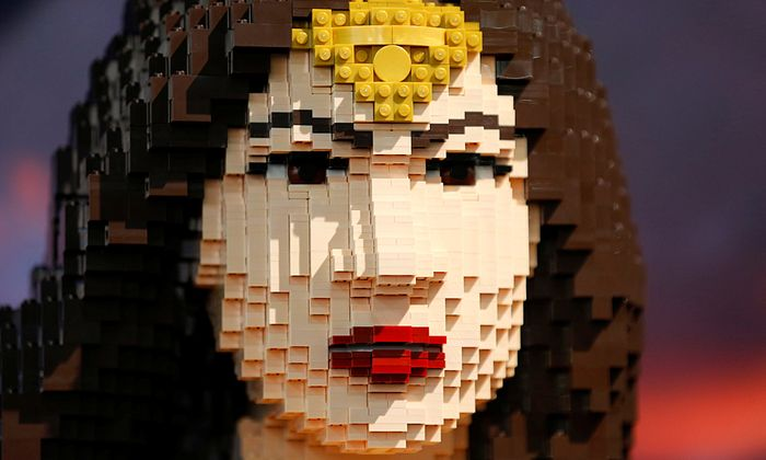 The face of a life sized Wonder Woman made from Lego is shown in the Lego booth at the pop culture event Comic-Con International in San Diego