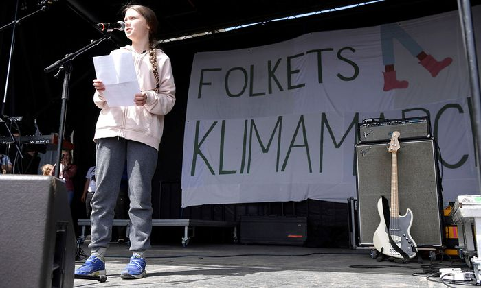 Swedish climate activist Thunberg speaks to attendees of People's Climate March in Copenhagen