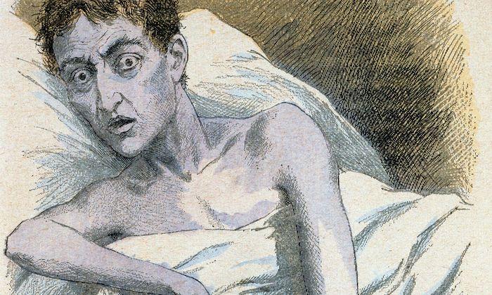 Ein Cholera-Patient, dargestellt in einem französischen Medizinbuch des Jahres 1890.