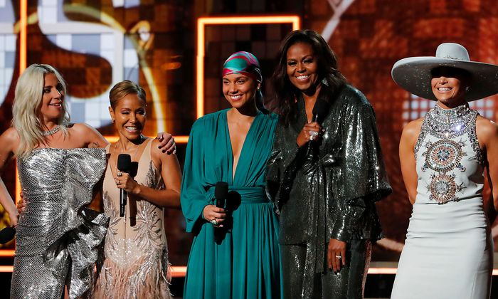 Lady Gaga, Jennifer Lopez, Alicia Keys, former first lady Michelle Obama and Jada Pinkett Smith.