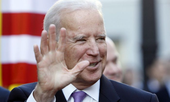 U.S. Vice President Biden gestures as he arrives for a meeting with Ukraine's President Petro Poroshenko in Kiev