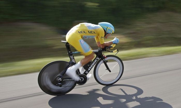 Race leader Astana team rider Vincenzo Nibali of Italy cycles during the 54-km individual time trial 20th stage of the Tour de France cycling race from Bergerac to Perigueux