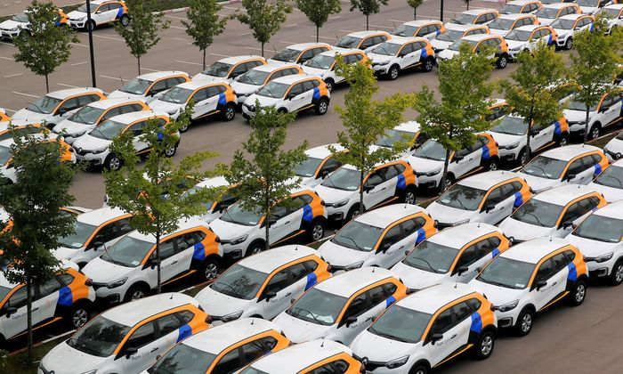 Yandex.Drive carsharing cars are seen at a parking lot in Moscow