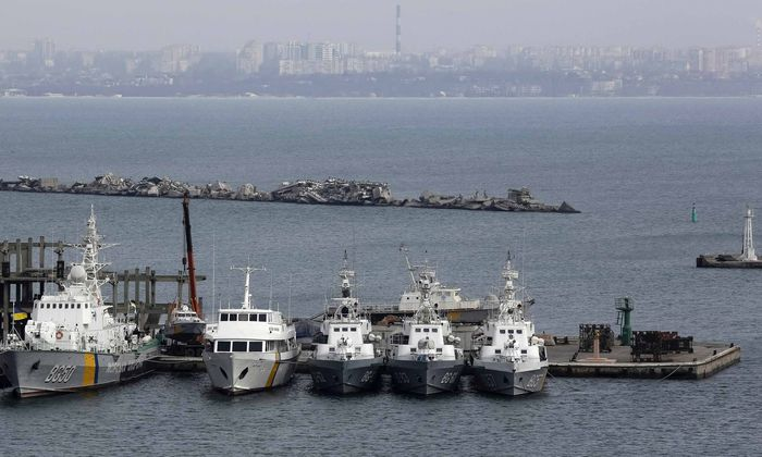 Ukrainian Coast Guard vessels are docked in the Black Sea port of Odessa