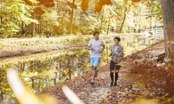 Couple jogging on autumnally forest track model released Symbolfoto PUBLICATIONxINxGERxSUIxAUTxHUNx