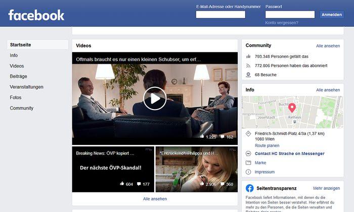 Heinz-Christian Straches Facebook-Seite.