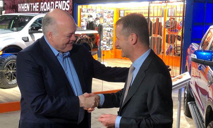 Die Chefs von Ford und VW, Jim Hackett und Herbert Diess, feilen an einer Allianz