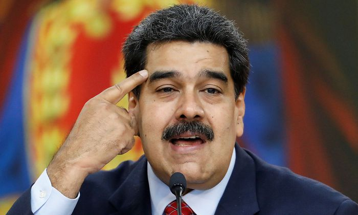 Venezuela's President Nicolas Maduro holds a news conference in Caracas