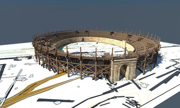 Im Bild: Ein Rendering des neu entdeckten Amphitheaters aus Holz.
