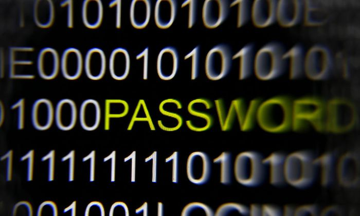 A magnifying glass is held in front of the word ´password´ on a computer screen in this picture illustration taken in Berlin