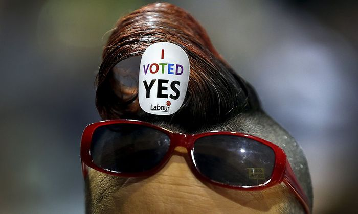 A Yes campaigner pictured at the count centre in Dublin as Ireland holds a referendum on gay marriage