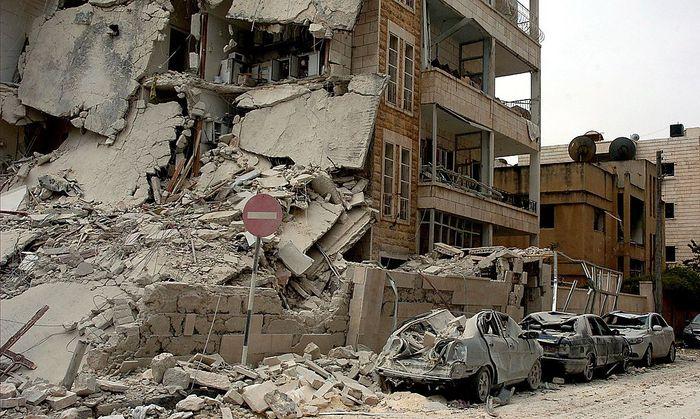 Zerbombte Häuser in der Stadt Idlib.