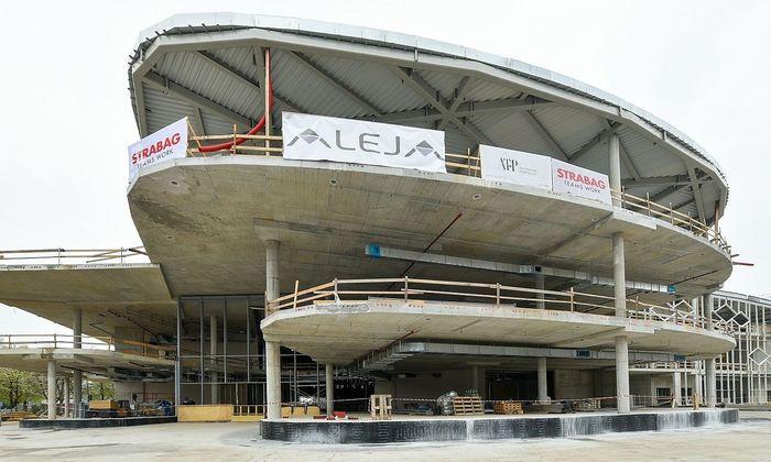 Die in Bau befindliche Shopping-Mall Aleja in Laibach