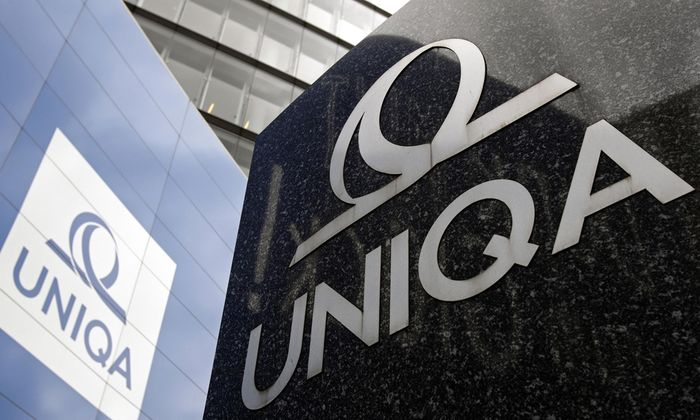 The logo of Austrian insurer Uniqa is pictured at its headquarters in Vienna