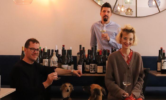 Moritz Herzog (Weinskandal) mit Andreas Schwarz und Christina Nasr (Alma).