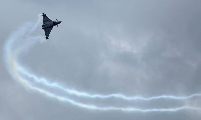 A Eurofighter Typhoon takes to the sky during the 49th International Paris Air Show at Le Bourget n
