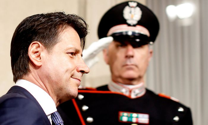Newly appointed Italy Prime Minister Giuseppe Conte arrives to speaks with media after the consultation with the Italian President Sergio Mattarella at the Quirinal Palace in Rome