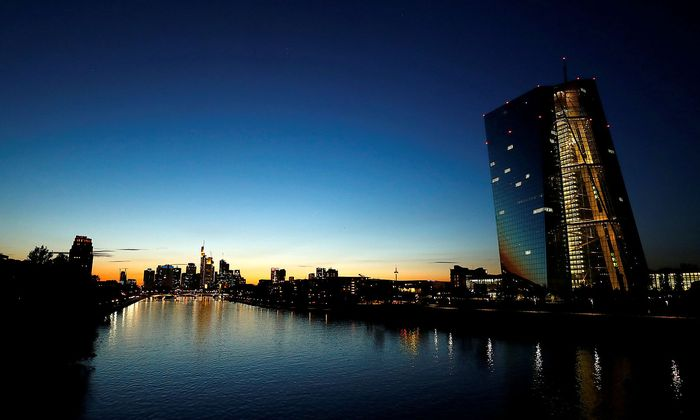 FILE PHOTO: ECB HQ and skyline with its financial district are seen in Frankfurt
