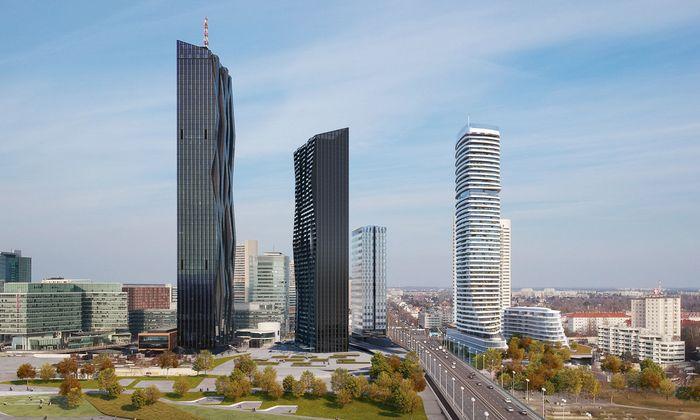 Von links nach rechts: Der DC Tower 1 steht bereits seit 2014. Die DC Tower 2 und 3 sowie die Danube Flats (inklusive kleinem Nebengebäude), die diese Visualisierung zeigen, sind geplant bzw. im Entstehen.