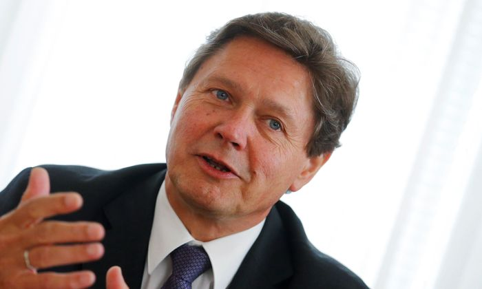 Austrian hydropower producer Verbund Chief Executive Anzengruber addresses a news conference in Vienna