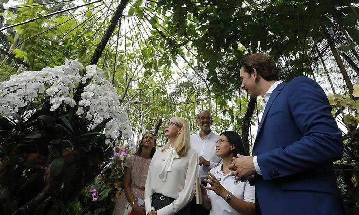 Schramböck (2.v.li), Faßmann (3.v.li.) und Kurz (re.) zu Besuch im Ordchideengarten von Singapur.