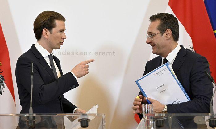 Bundeskanzler Sebastian Kurz (ÖVP) und Vizekanzler Heinz Christian Strache (FPÖ) im Bundeskanzleramt.