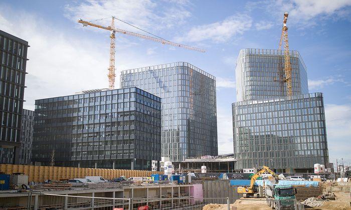 Archivaufnahme: Bauarbeiten am QBC in Wien.