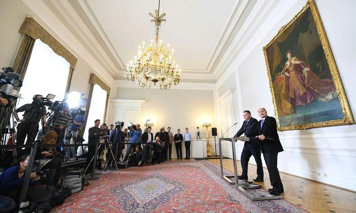Doskozil und Sobotka nach der Sitzung des Nationalen Sicherheitsrates