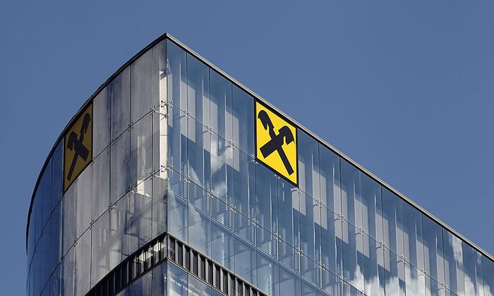 General view of the logo of Raiffeisen Bank International on an office building in Vienna