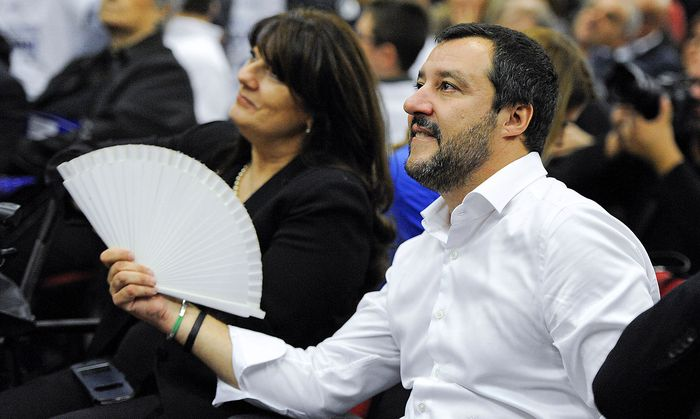 Northern League´s leader Matteo Salvini attends during a rally for the regional election in Palermo