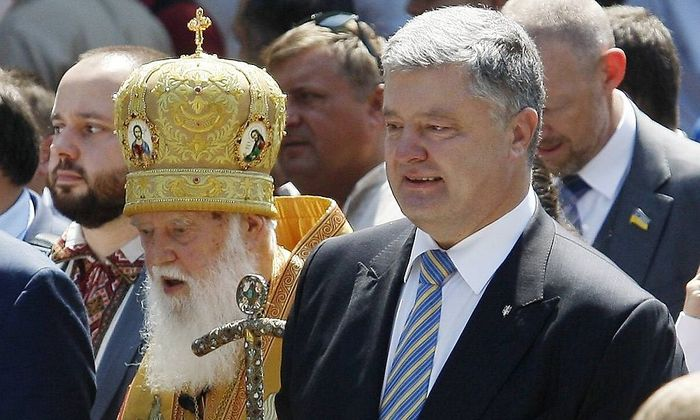 July 28 2018 Kiev Ukraine Ukrainian President Petro Poroshenko R and Patriarch of Ukrainian