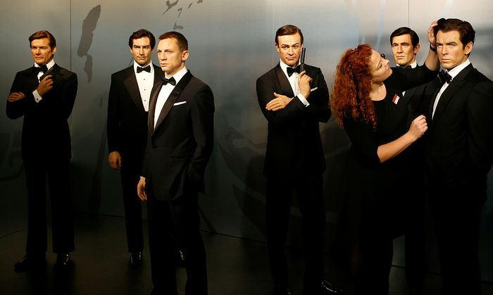 Wax figures of all 6 actors who portrayed James Bond character, Roger Moore, Timothy Dalton, Daniel Craig, Sean Connery, George Lazenby and Pierce Brosnan are seen in the Madame Tussauds wax museum in Berlin