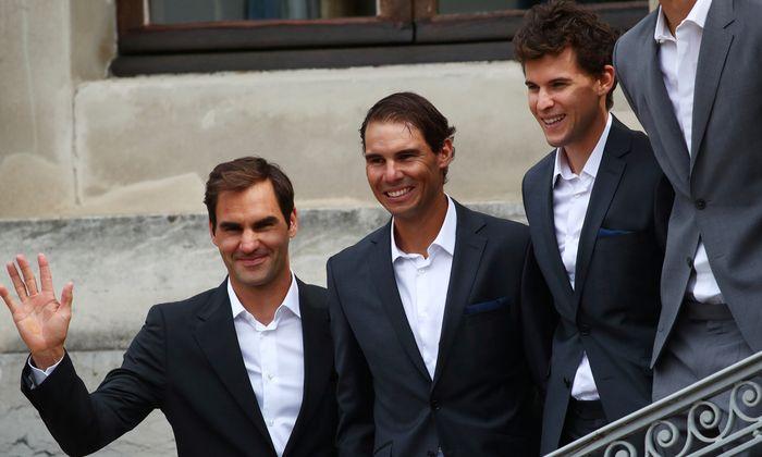 Seite an Seite mit den Superstars: Dominic Thiem, Rafael Nadal und Roger Federer (v. r. n. l.).