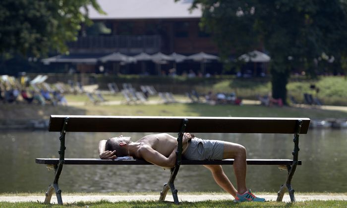 A man sleeps on a bench in a park during a heat wave