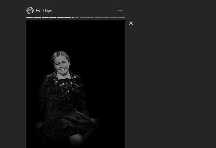 So sah die reale Eva Heyman mit 13 Jahren aus, wie ein Foto in einer der ersten Storys auf @Eva.Stories zeigt.