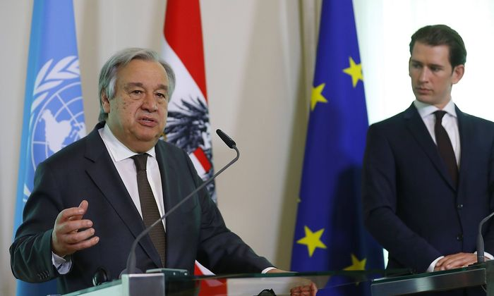 U.N. Secretary-General Guterres and Austrian Chancellor Kurz address a news conference in Vienna