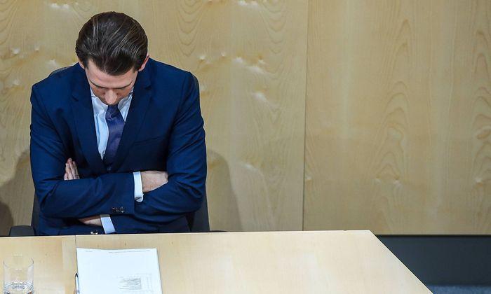 190528 VIENNA May 28 2019 Xinhua Austrian Chancellor Sebastian Kurz attends a session o