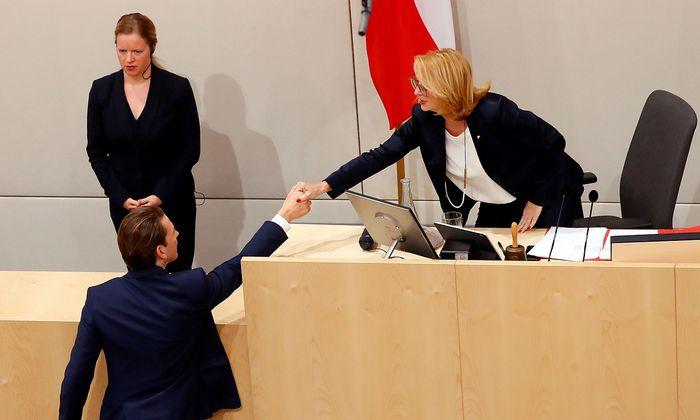 Austrian Chancellor Sebastian Kurz attends a session of the Parliament in Vienna