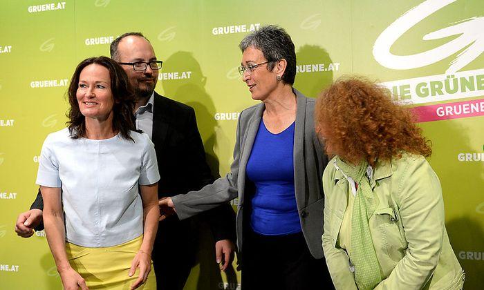 Bundesparteiobfrau Eva Glawischnig, Michel Reimon, Spitzenkandidatin Ulrike Lunacek und Monika Vana im Rahmen des Wahlkampfauftaktes der Grünen am Montag